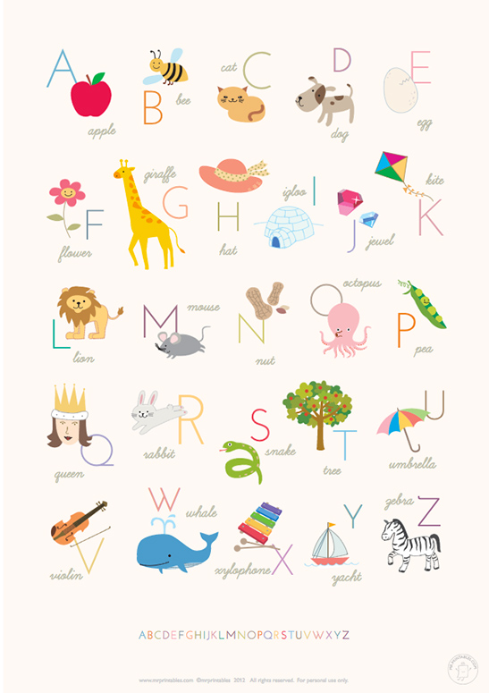 picture relating to Printable Posters named Printable Alphabet Posters - Mr Printables