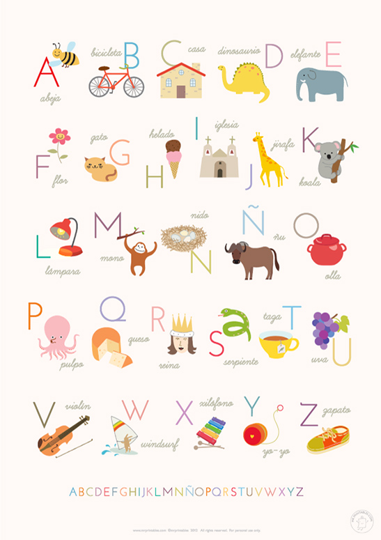 graphic relating to Spanish Alphabet Printable known as Printable Alphabet Posters - Mr Printables