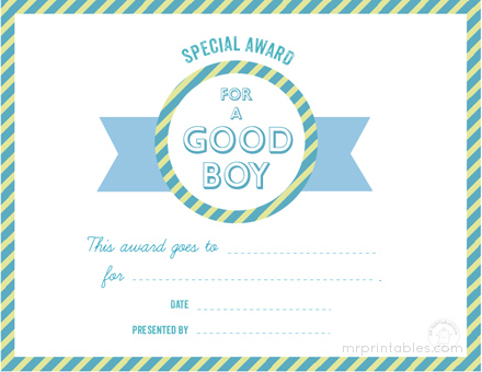 awards for good behavior mr printables