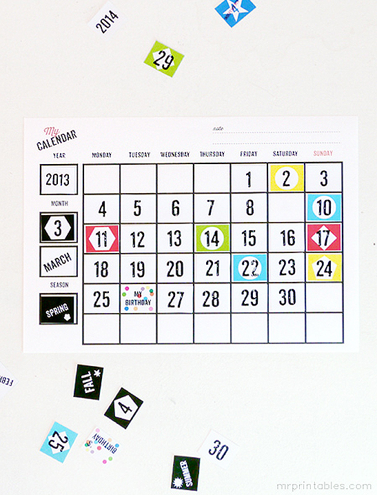 photo about Kids Printable Calendar named My Working day Blank Calendars - Mr Printables
