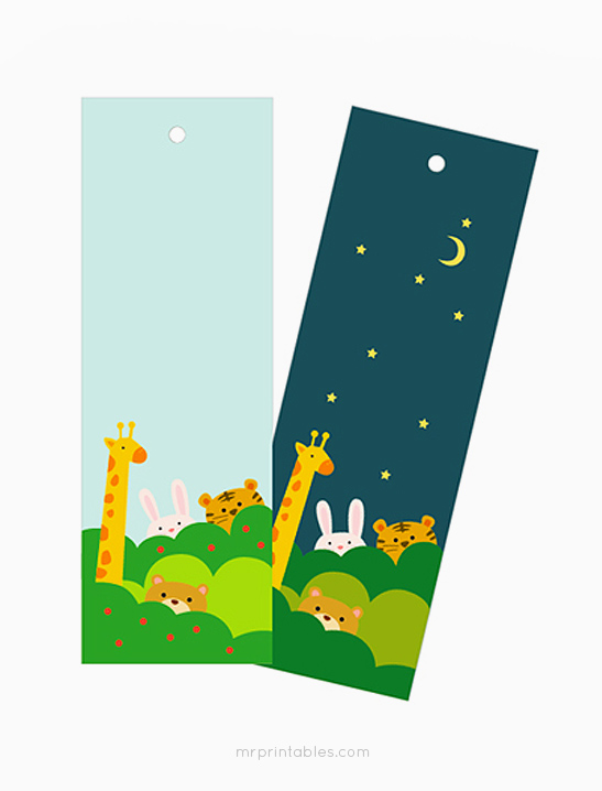 photo about Printable Bookmarks for Kids titled Working day Evening Animal Bookmarks - Mr Printables