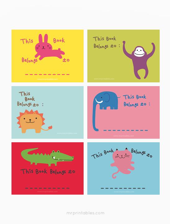 image relating to Printable Bookplates named Vibrant Animal Bookplates - Mr Printables