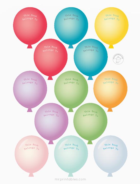 photograph relating to Balloons Printable titled Balloon Bookplates - Mr Printables