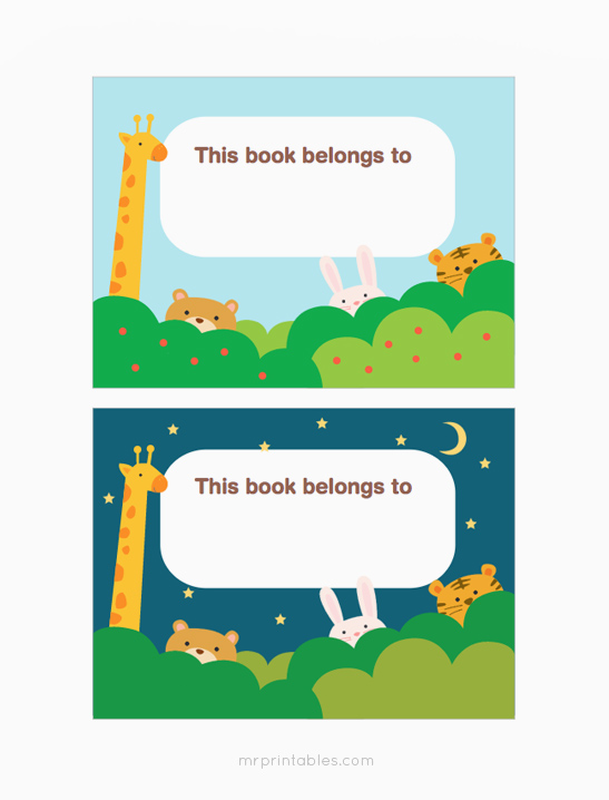 photo regarding Printable Bookplates named Working day Night time Pets Bookplates - Mr Printables