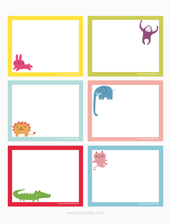 animals printable note cards mr printables - Note Cards