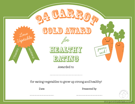 Certificates For Healthy Eating Mr Printables – Kids Certificate Templates