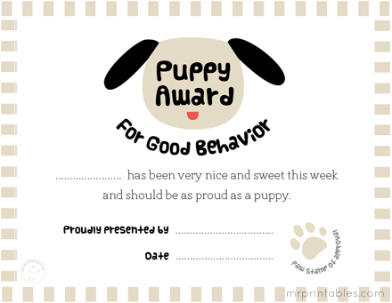 dog show certificate template - awards for good behavior mr printables