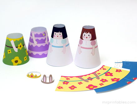 cone girls 3d paper dolls mr printables