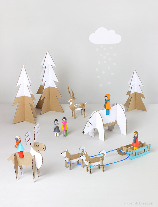 Peg Dolls Winter Wonderland Mr Printables