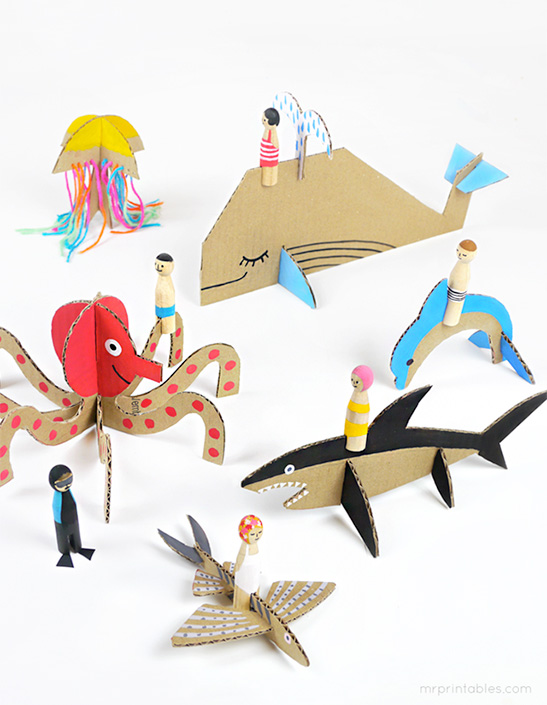 picture regarding Free Printable Sea Creature Templates identified as Peg Dolls Cardboard Sea Creatures - Mr Printables