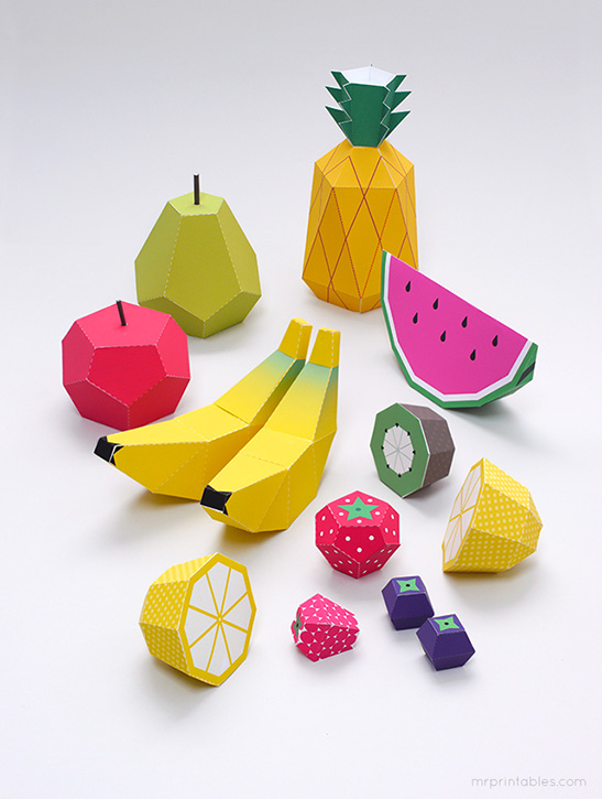 Paper Fruit Mr Printables